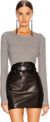 Nili Lotan Long Sleeve Shirt in Charcoal & White Stripe   FWRD