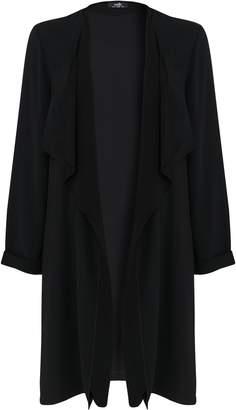 Wallis Black Longline Chiffon Duster Jacket