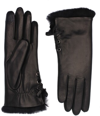 Agnelle Side Tie Genuine Rabbit Fur Lined Lambskin Leather Gloves