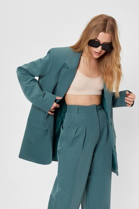 Nasty Gal Womens Here Goals Nothing Oversized Tailored Blazer - Teal