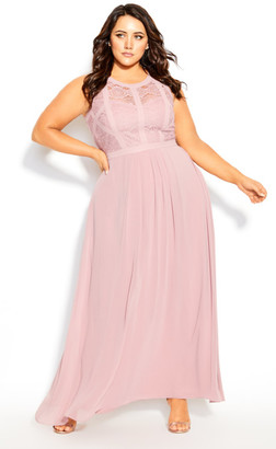 City Chic Panelled Bodice Maxi Dress - rose