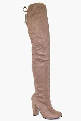 boohoo Block Heel Tie Back Thigh High Boots