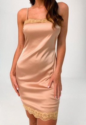 Missguided Tan Satin Lace Trim Mini Dress