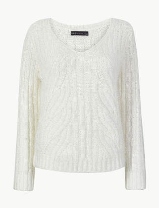 M&S CollectionMarks and Spencer Textured V-Neck Jumper
