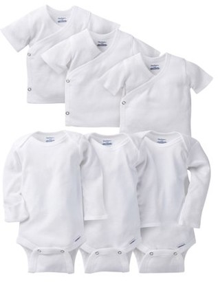 Gerber Baby Boy or Girl Gender Neutral White Onesies Long Sleeve Bodysuits with Mitten Cuffs & Side Snap Shirts Bundle, 6-Piece