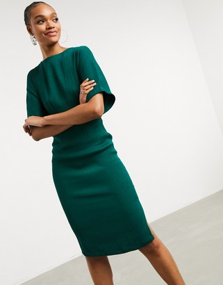 Closet London ribbed pencil dress with tie belt in emerald green