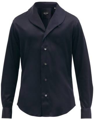 Giorgio Armani Shawl-collar Cotton-poplin Shirt - Dark Navy