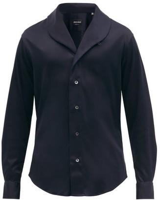 Giorgio Armani Shawl-collar Cotton-poplin Shirt - Dark Navy