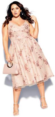 City Chic Sequin Flower Dress - pink