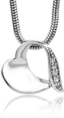 clear Miore 925 Sterling Silver Necklace with Open Heart Pendant and Cubic Zirconia on 45cm Snake Chain for Women
