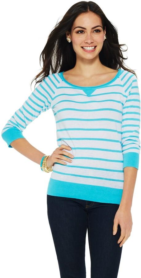 C. Wonder Linen Cotton Striped Raglan Sweater