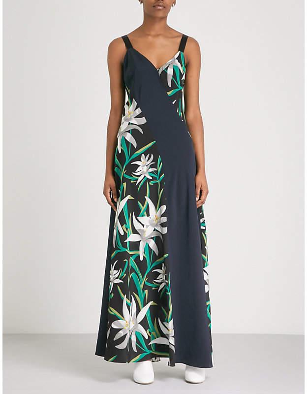 Diane von Furstenberg Panelled silk-crepe maxi dress