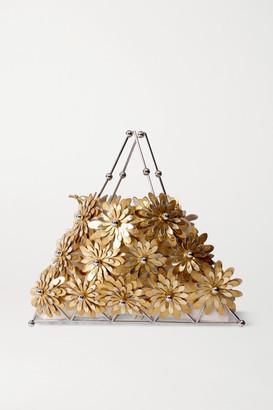 VANINA Fleurs De Soleil Metallic Leather And Silver-tone Tote
