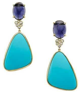 Ippolita Rock Candy 18K Yellow Gold, Gemstone & Diamond 2-Stone Drop Earrings