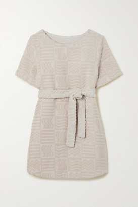 LUCY FOLK Belted Cotton-blend Terry Mini Dress - Ecru