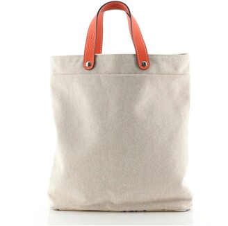 Hermes Petit H Tote Printed Canvas with Silk and Leather Vertical