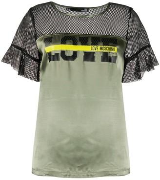 Love Moschino logo print mesh T-shirt