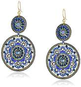 Miguel Ases Large Circle Swarovski Sapphire Double Drop Dangle Hoop Earrings