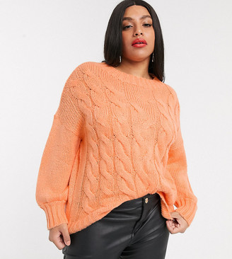 Simply Be cable knit sweater in peach-Orange