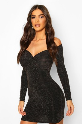boohoo Glitter Knot Front Bardot Mini Dress