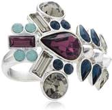 Pilgrim Jewelry Women's Ring Brass Ring Silver Anniversary 191336204 / Blue 3.0 CM