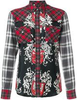 Dolce & Gabbana plaid and crest print shirt