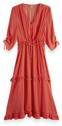 Scotch & Soda Coral V Neck Midi Dress - xlarge - Pink
