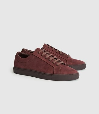 Reiss Luca - Nubuck Leather Trainers in Bordeaux