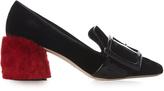 Miu Miu Shearling block-heel velvet loafers