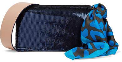 Diane von Furstenberg Soirée Sequined Leather Shoulder Bag - Navy
