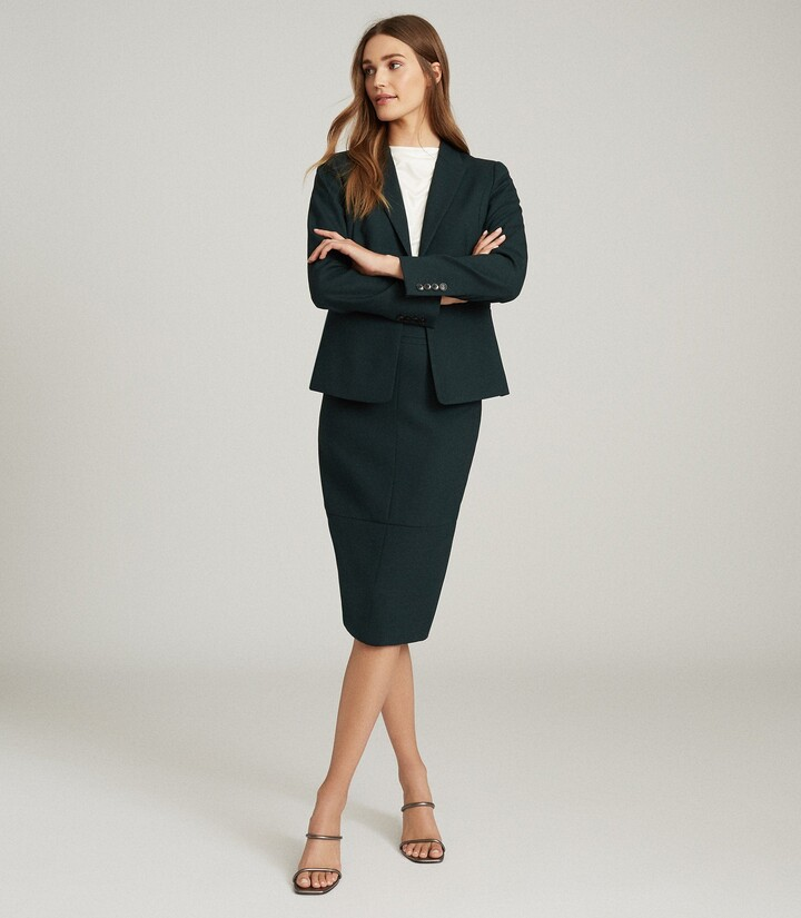 Reiss Sadie - Tailored Pencil Skirt in Green