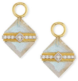 Jude Frances 18k Gold Lisse Wrapped Labradorite Square Earring Charms