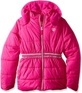 Pink Platinum Toddler Girls' Puffer Jacket with Novelty Trim At Waist