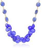 Devon Leigh Gold-Plated, Sapphire, and Periwinkle Chalcedony Cluster Necklace, 21""