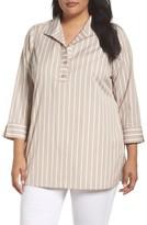 Foxcroft Plus Size Women's Dani Button Back Tunic Shirt
