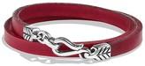 David Yurman Chevron Double Wrap Leather Bracelet in Red