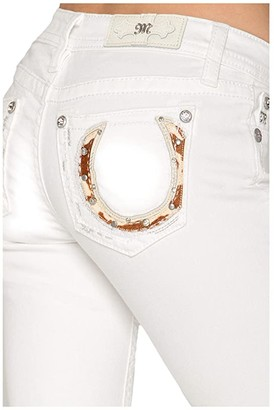 Miss Me Horseshoe Bootcut Jeans in White (White) Women's Jeans