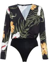 Quiz Black Mustard And Cream Floral Print Bodysuit