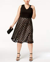 Sangria Plus Size Mesh Dot Fit and Flare Dress