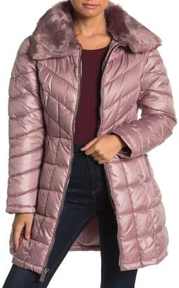 Kenneth Cole New York Removable Faux Fur Trim Quilted Coat