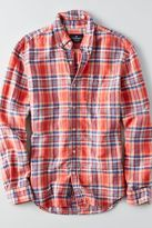American Eagle Outfitters AE Classic Plaid Linen Shirt