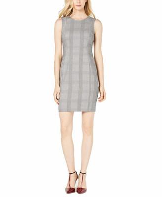 Calvin Klein Womens Black Zippered Plaid Sleeveless Jewel Neck Short Sheath Cocktail Dress Size: 6