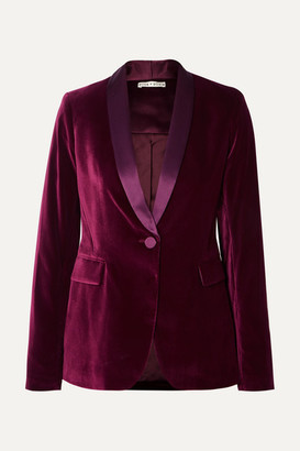 Alice + Olivia Macey Satin-trimmed Velvet Blazer - Purple
