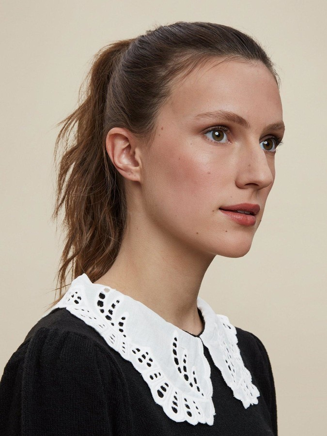 Thumbnail for your product : Dorothy Perkins Broderie Collar 2 In 1 Jumper - Black