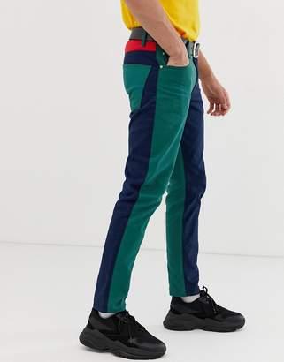 Asos Design DESIGN slim jeans in cut and sew color block-Blue