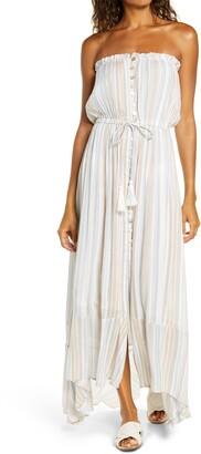 Elan International Strapless Button Front Maxi Cover-Up Dress
