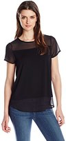 Vince Camuto Women's Short-Sleeve Top with Chiffon Yoke and Hem