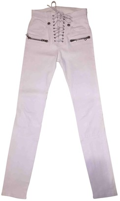 Unravel White Leather Trousers