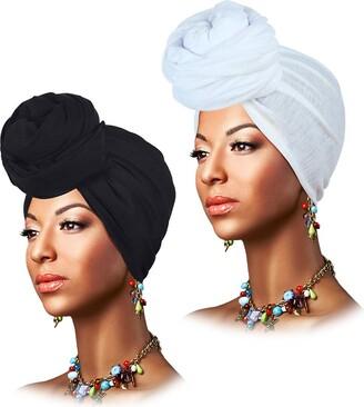 keland Stretch Head Wrap Scarf Breathable Turban Headband Tie Long Hair Wraps for Women (A - Black & Wine Red)