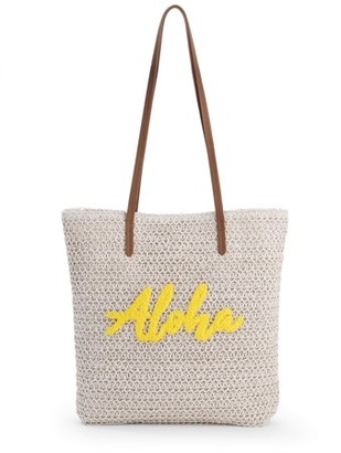 """Time and Tru Time & Tru """"Aloha"""" Packable Straw Tote"""